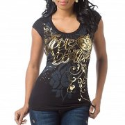 Apple bottom black and gold script baby tee