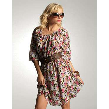 Floral long sleeve dress with leather belt and sunglasses